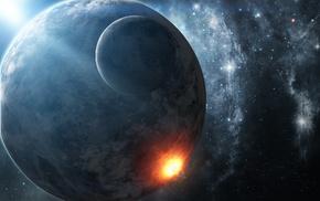 art, planet, stars, explosion, satellite
