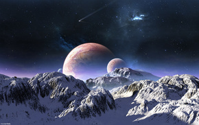 planets, stars, snow, sky, mountain