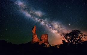 stars, canyon, nature, sky, night