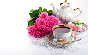 напиток, десерт, чай, пирожное, вкусно, чайник