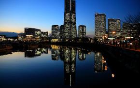 sunset, Japan, evening, cities