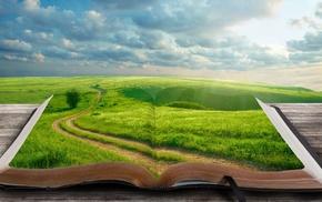 world, tree, grass, landscape, 3D