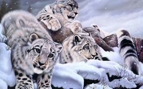 snow, art, winter, animals
