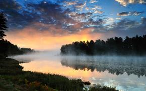 Природа, пейзаж, закат, река, лес