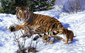 animals, snow, art, winter