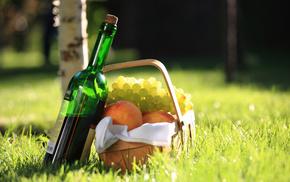 delicious, grapes, basket, grass