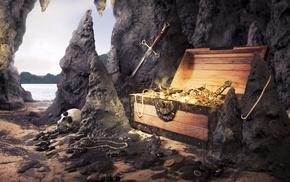 sword, sand, stones, stunner, beach