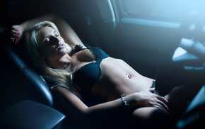 rest, underwear, girl, car, light