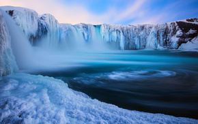Iceland, clouds, ice, snow, waterfall