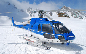 snow, sky, helicopter, mountain, blue