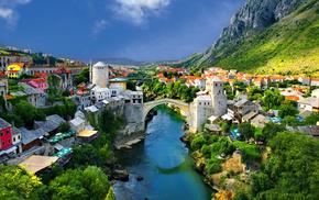 мост, Альпийский, деревья, горы, города, река