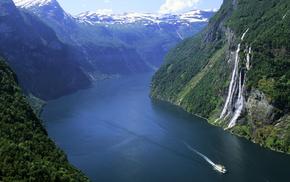 Норвегия, лес, водопад, природа, горы, фьорд