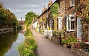 река, канал, города, дорожка, цветы, Дома