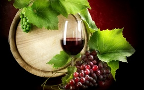 wine, grapes, delicious, wineglass, leaf