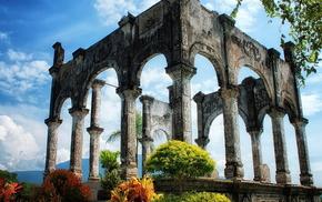 колонны, красивые, Руины, древность, природа, история