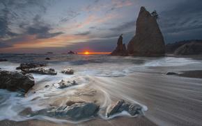 sunset, rocks, Sun, stunner, sea