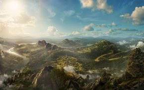 panorama, mountain, view, art, 3D