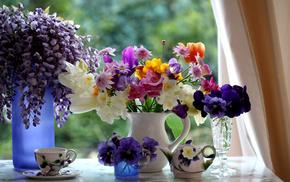 window, flowers, wineglass, cup