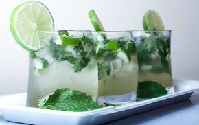 мохито, вкусно, свежесть, холодный, лайм, зелёный