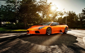 Lamborghini, Sun, orange, cars
