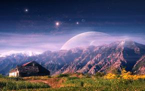 stunner, landscape, house, mountain, art