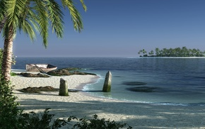art, palm trees, 3D, island, water