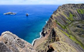 nature, mountain, coast, ocean, beach