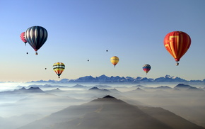 stunner, mountain, balloon, sky, clouds