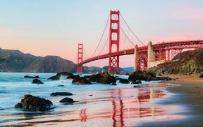 вода, Сан-Франциско, мост Золотые Ворота, утро, висячий мост, golden gate вridge