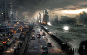 night, apocalyptic, road, fantasy, city