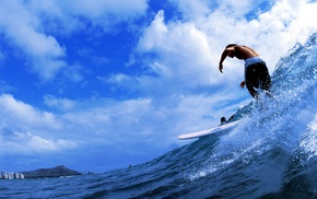 splash, sea, surfing, clouds, sports