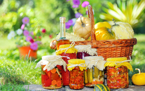flowers, basket, delicious, grass
