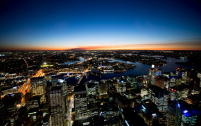 cities, sunset, horizon, sky, city