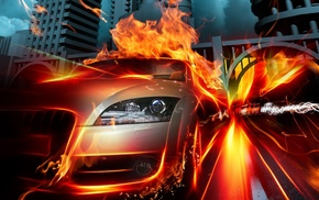 speed, cars, fire, flame, auto