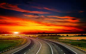 sunset, field, road, stunner