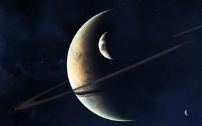 art, stars, satellite, space, rings