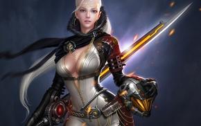 helmet, sword, ears, art, fantasy