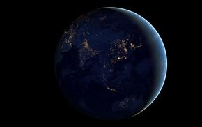 земля, космос, ночь, Планета, огни