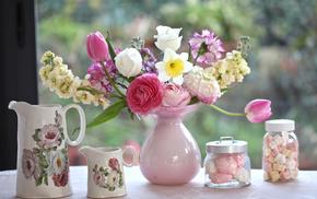 vase, flowers, bouquet, tulips