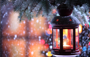 candle, snowflakes, branch, snow, winter