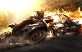 art, automobile, motorcycle, flame, 3D