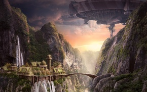 castle, rocks, waterfall, art, bridge