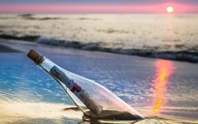 sea, sunset, landscape, bottle, stunner