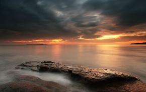 coast, nature, UK, stones, sea