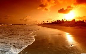 beach, nature, sea, ocean, sunset