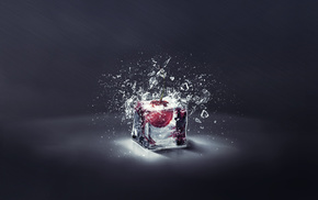 куб, лед, Вишня, 3d, осколки, свет