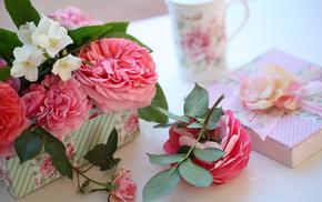 roses, gift, box, flowers