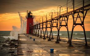 water, lighthouse, pier, stunner, sky