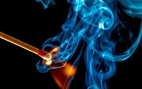 macro, fire, smoke