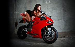 red, body, girls, pose, motorcycle